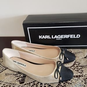 Karl Lagerfeld Gold Metallic Suede & pearl shoes